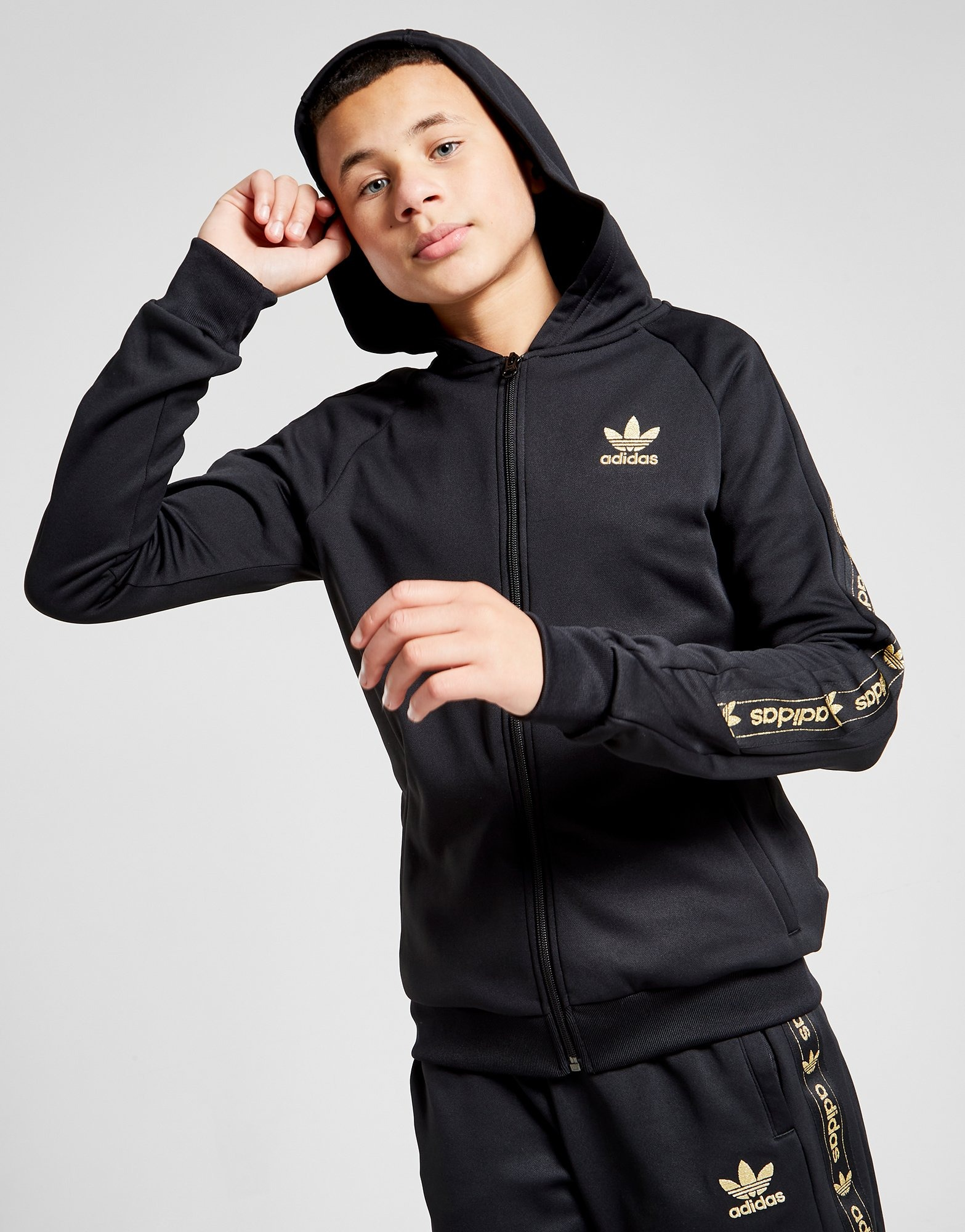 Black Adidas Originals Tape Poly Full Zip Hoodie Junior Jd Sports [ 2000 x 1567 Pixel ]