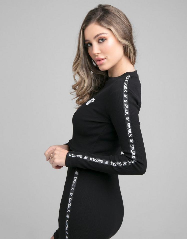 SikSilk Rib Tape Long Sleeve Crop T-Shirt