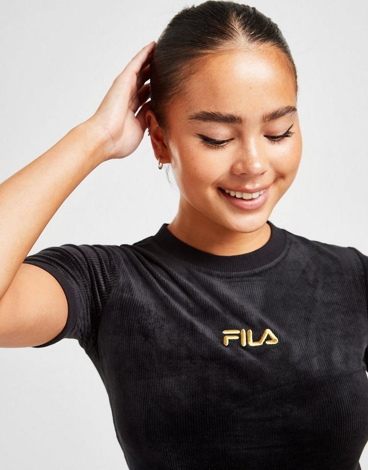 Fila Velour Ribbed Crop T-Shirt