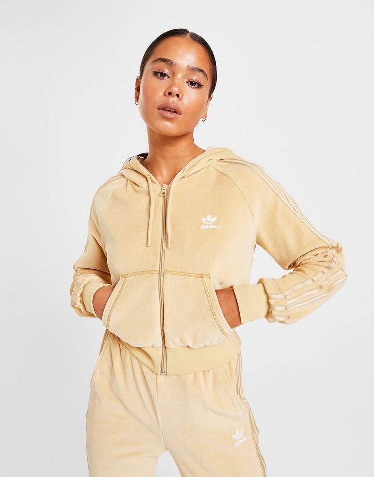 adidas Originals 3-Stripes Velour Full Zip Hoodie