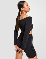 adidas Originals 3-Stripes Boucle Knit Off-Shoulder Crop Top Damen
