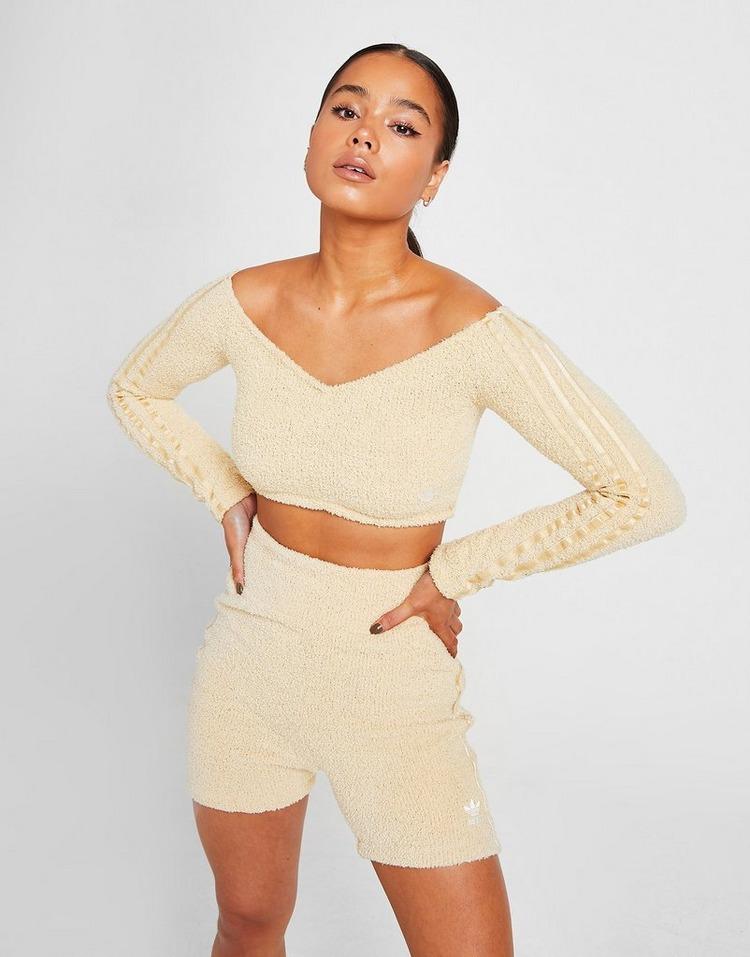 adidas Originals Boucle Knit Off-Shoulder Crop Top
