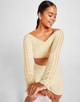 adidas Originals 3-Stripes Boucle Knit Off-Shoulder Crop Top