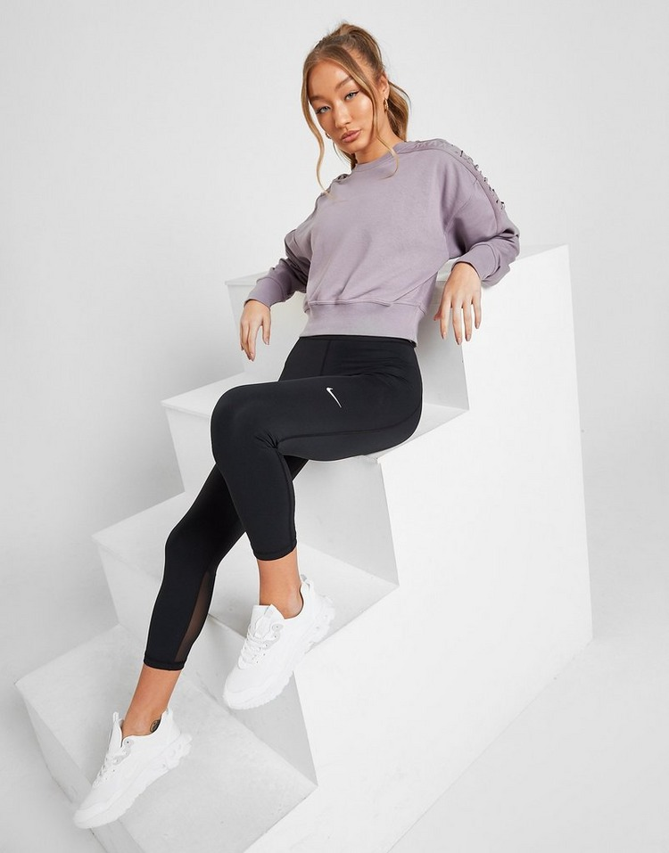 Nike Training Lace Up Cropped Fleece Crew Sweatshirt