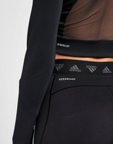 adidas 3-Stripes Mesh Crop 1/4 Zip Top