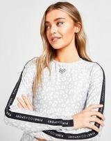 Pink Soda Sport Leopard Long Sleeve Crop T-Shirt