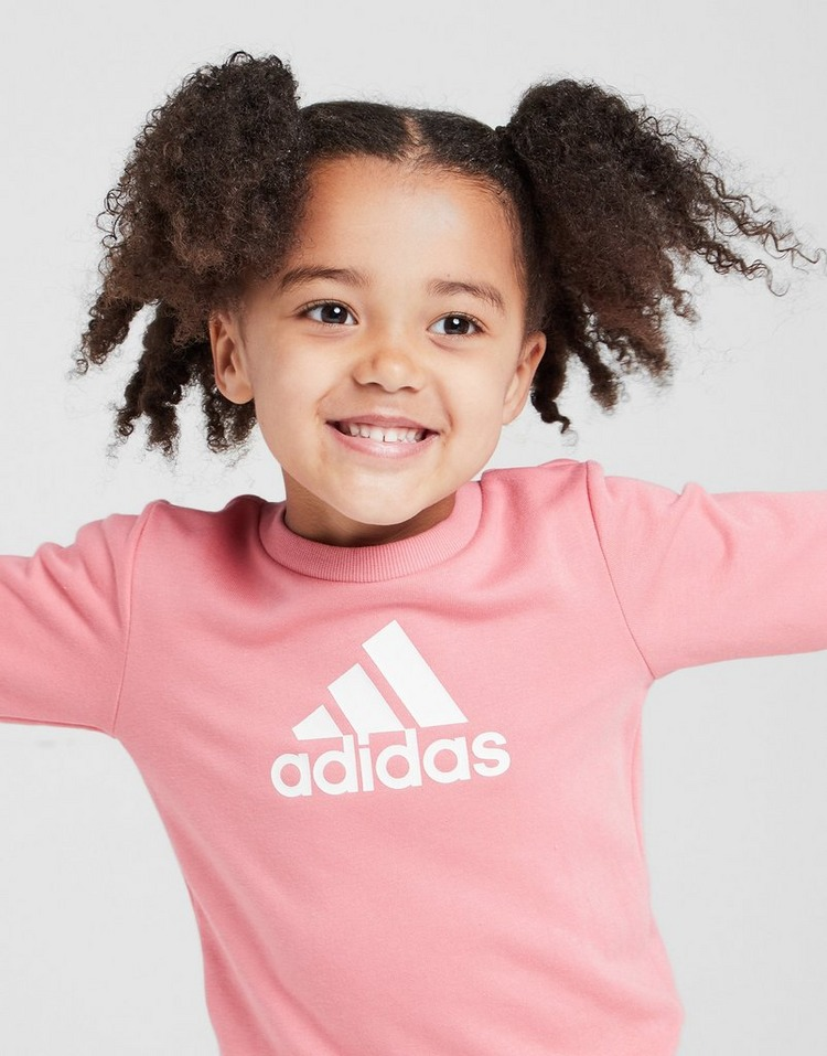adidas Girls' Badge of Sport Crew Tracksuit Infant