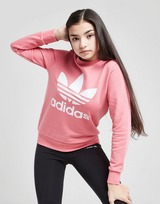 adidas Originals Girls' Trefoil Crew Sweatshirt Junior