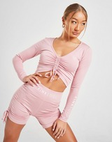 Pink Soda Sport Ruched Long Sleeve Crop Top