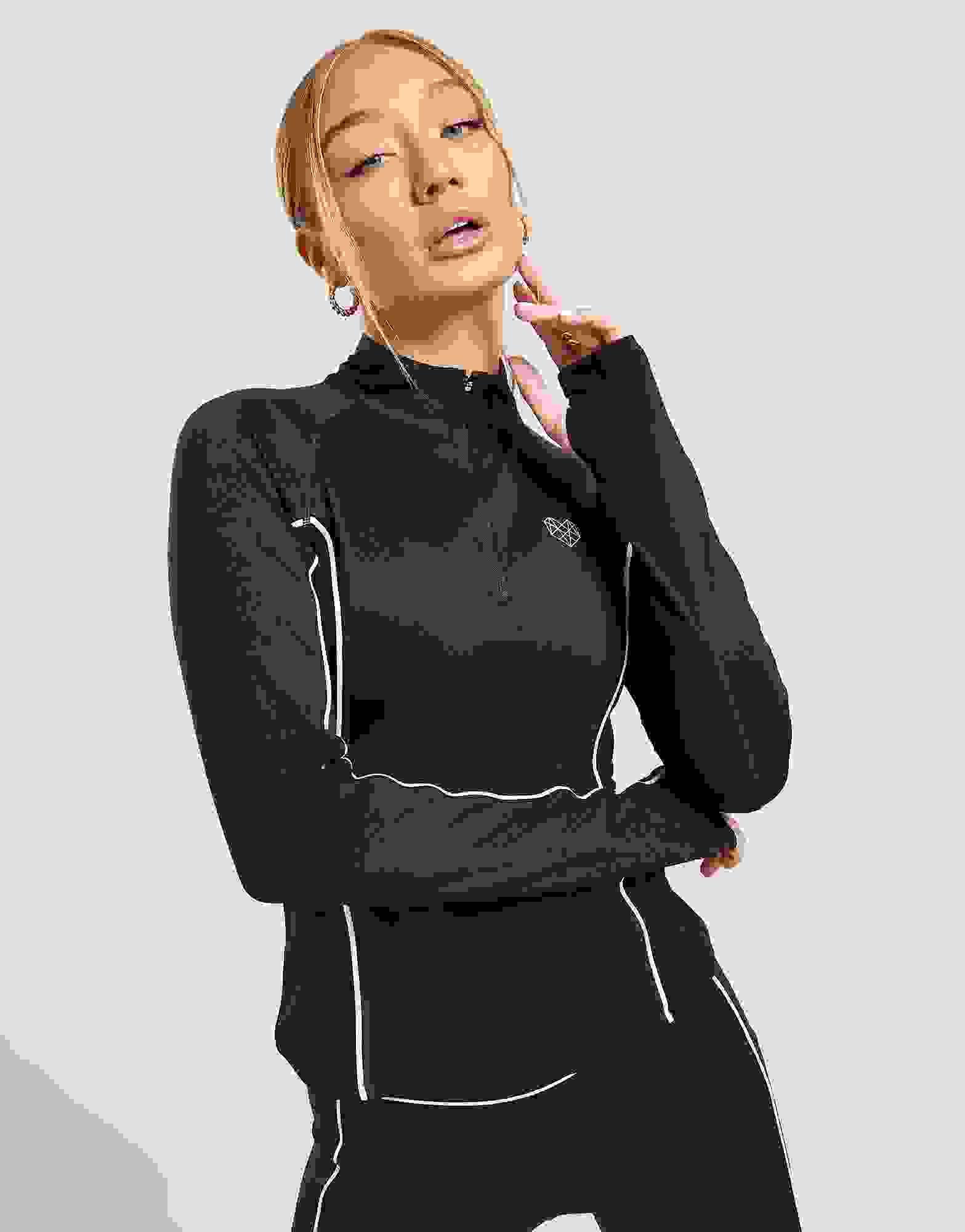 New Pink Soda Sport Women's Piped 1//4 Long Sleeve Zip Top
