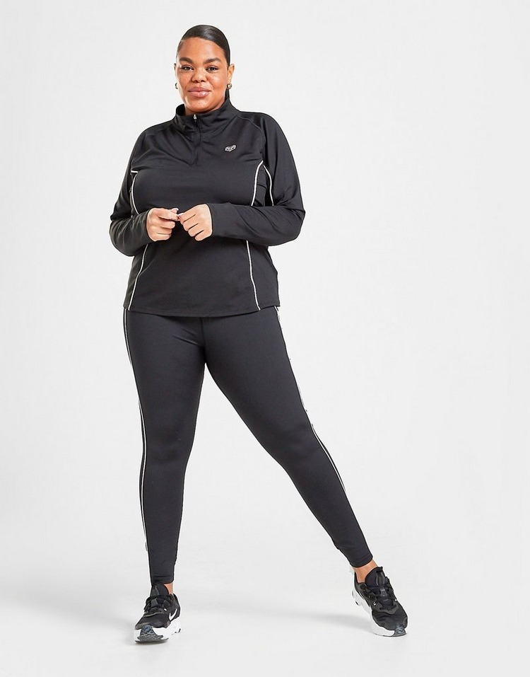 Pink Soda Sport Piped 1/4 Zip Plus Size Top
