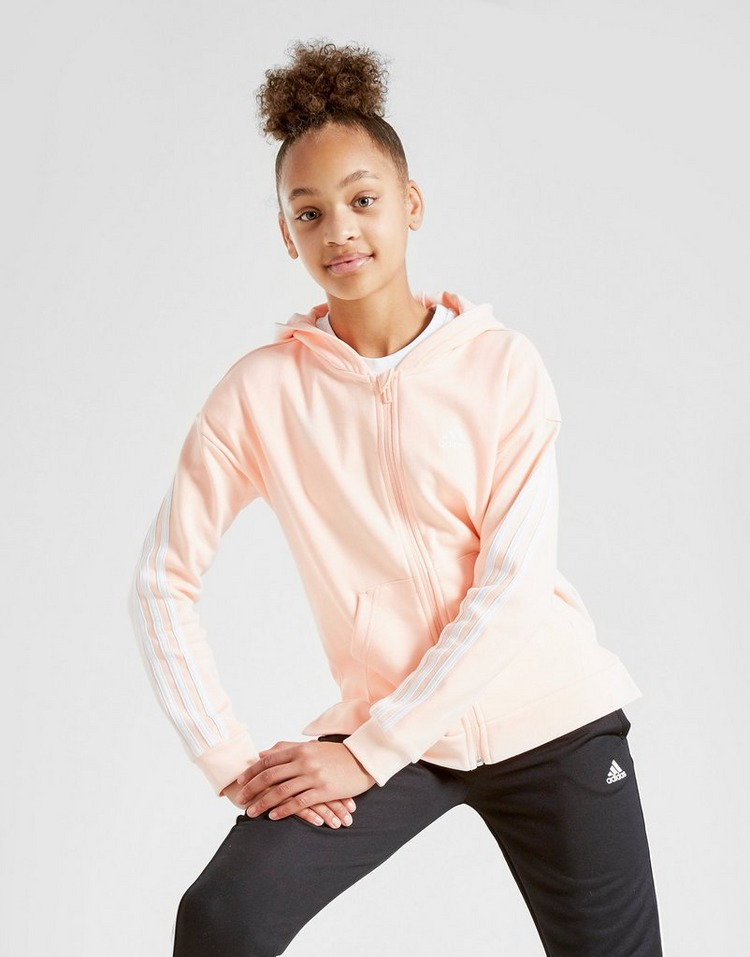 adidas Girls' 3-Stripes Full Zip Hoodie Junior