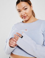 Ellesse Acid Wash Plus Size Long Sleeve Crop T-Shirt