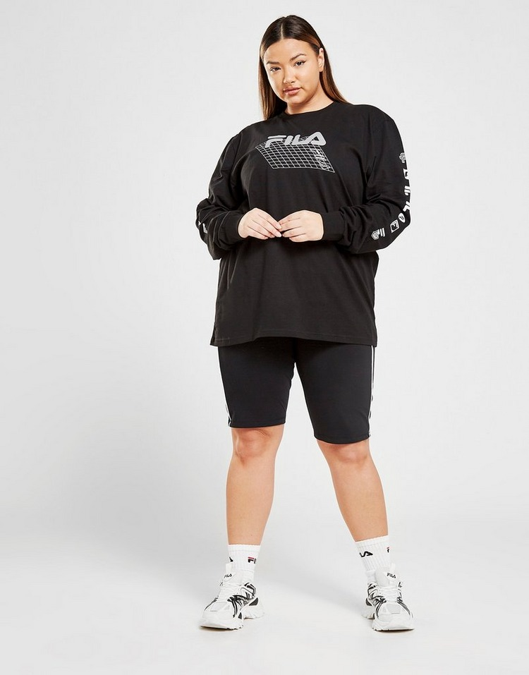 Fila Grid Logo Plus Size Long Sleeve T-Shirt