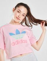 adidas Originals Girls' Tricolour 3-Stripes Crop T-Shirt Junior
