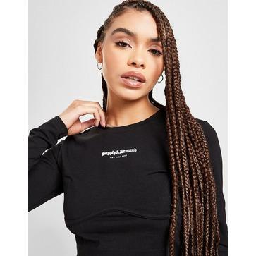Supply & Demand Corset Crop Long Sleeve T-Shirt