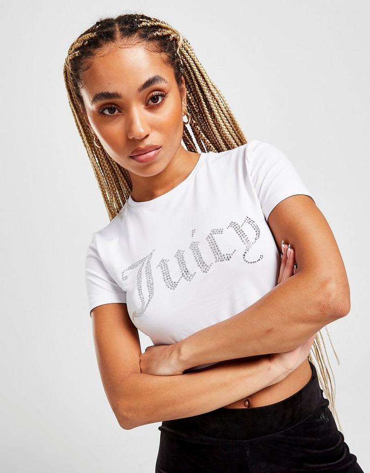 JUICY COUTURE Diamante Crop T-Shirt Damen