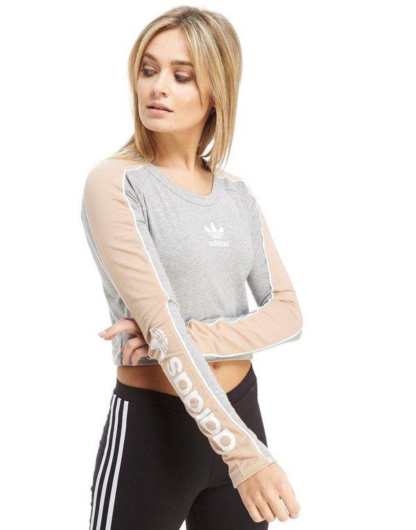 1764cc41711 adidas Originals Linear Long Sleeve Crop T-Shirt | JD Sports