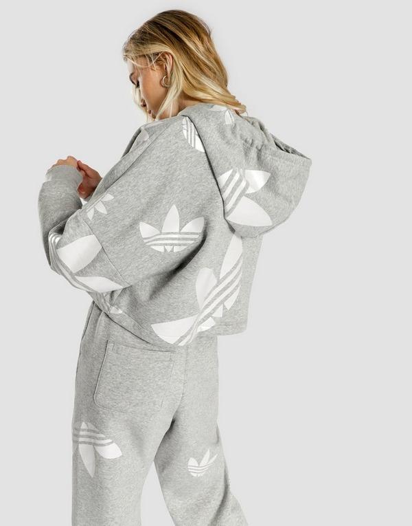 adidas Originals Large Logo All Over Print Crop Hoodie