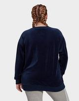 adidas Originals Velour Trefoil Crew Sweatshirt (Plus Size)