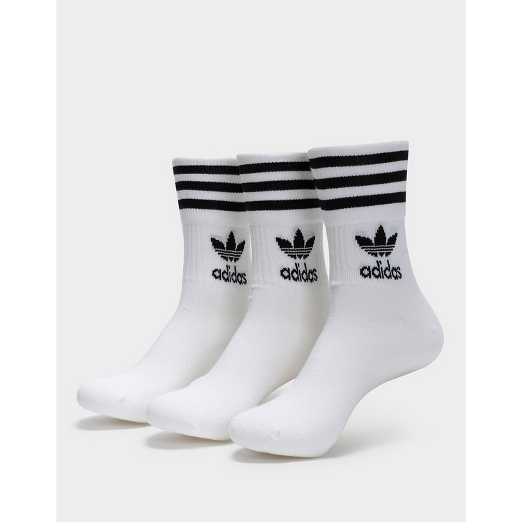 adidas 3 Pack Solid Mid Crew Socks