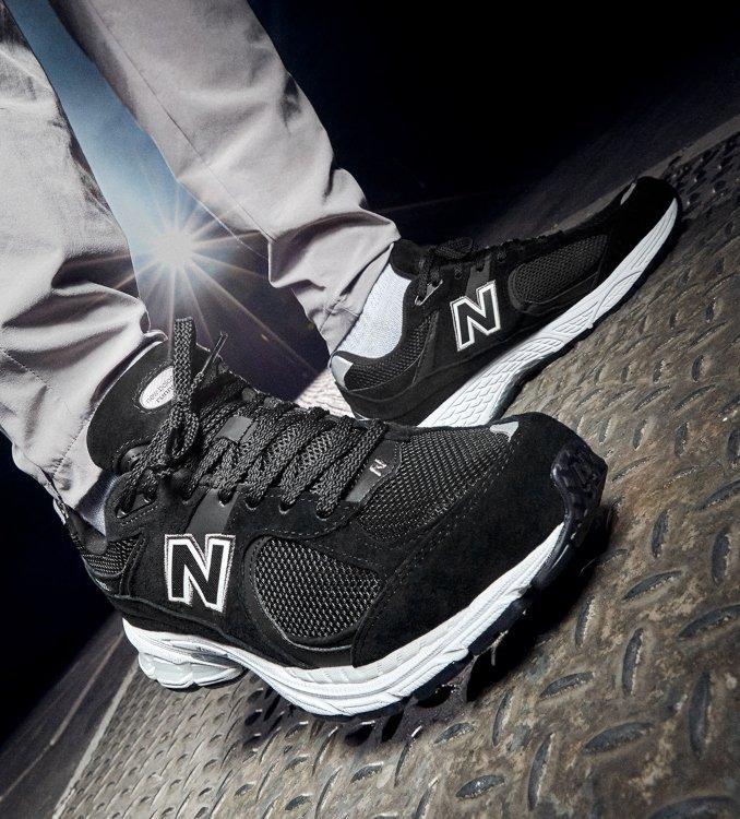 New Balance 2002R Men's Black on feet