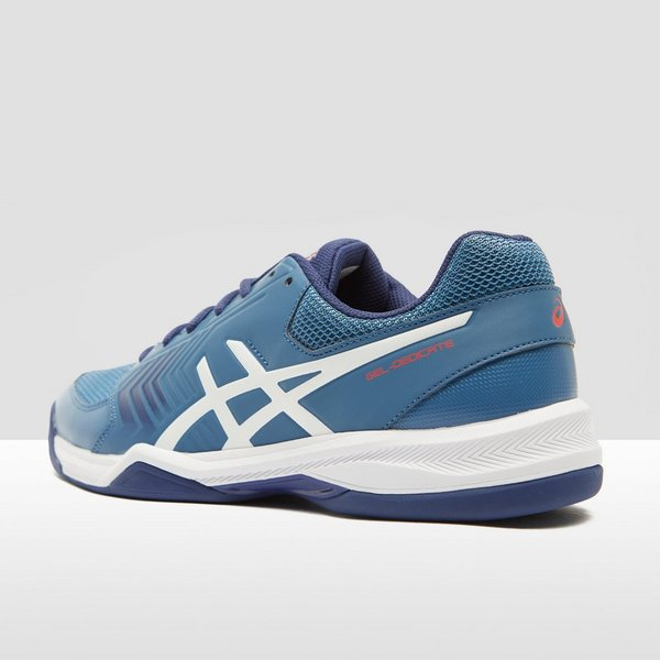 asics gel-dedicate 5 indoor tennisschoenen blauw/wit heren | perrysport
