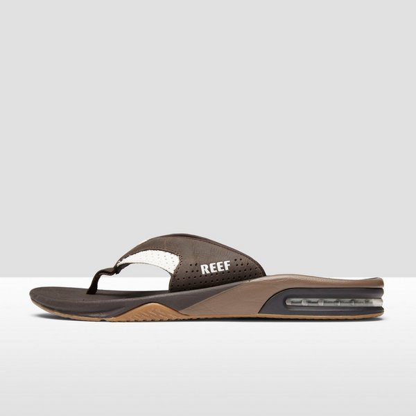 reef leather fanning slippers wit heren | perrysport