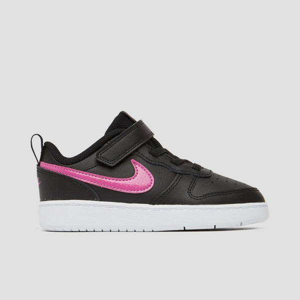 NIKE COURT BOROUGH LOW SNEAKERS ZWART/ROZE KINDEREN