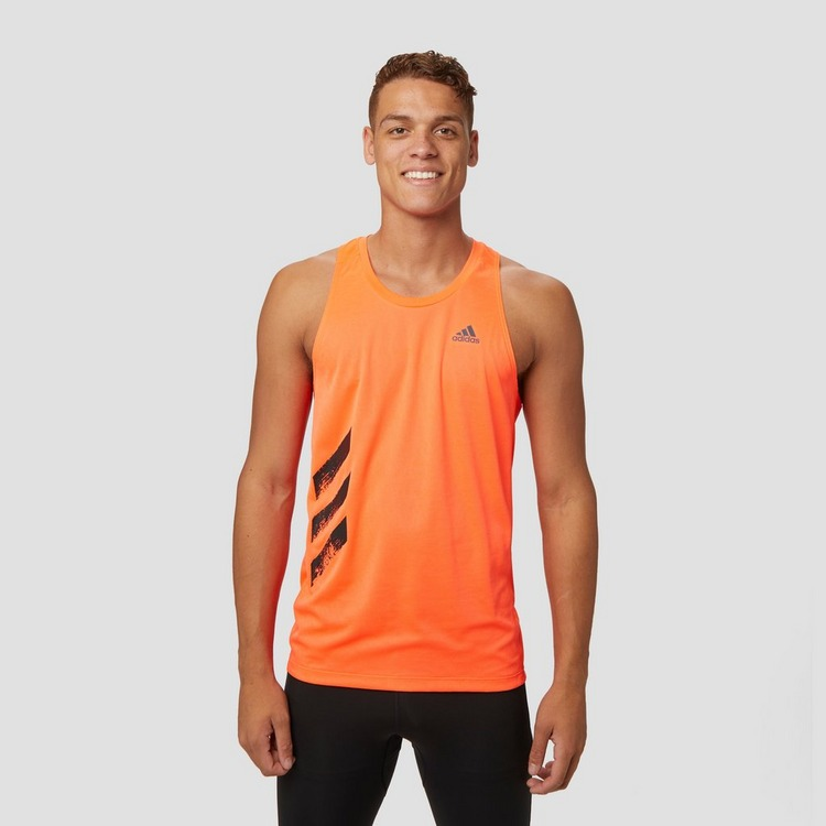 ADIDAS OWN THE RUN 3 STRIPES HARDLOOPSHIRT ROOD HEREN