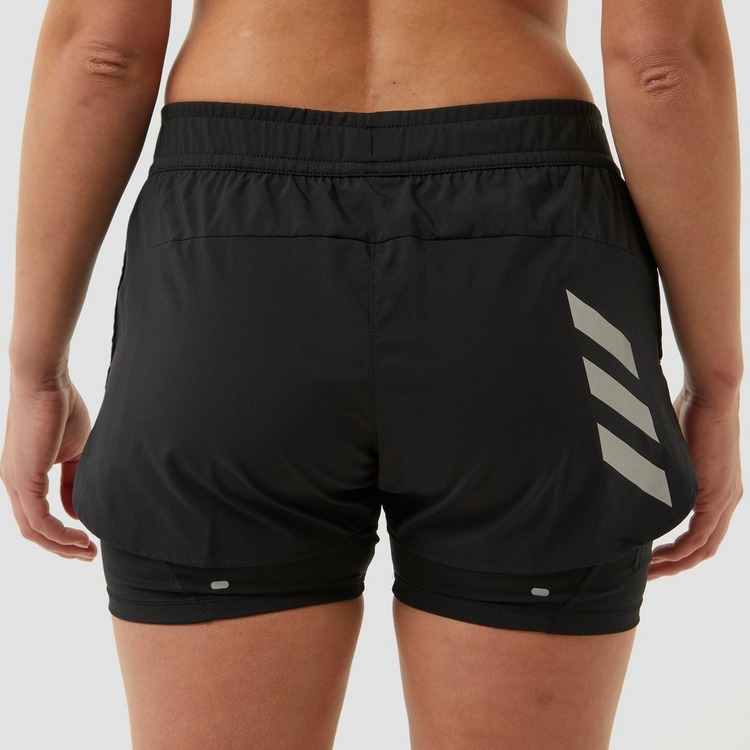 ADIDAS PRIMEBLUE TWO-IN-ONE HARDLOOPSHORT ZWART/WIT DAMES