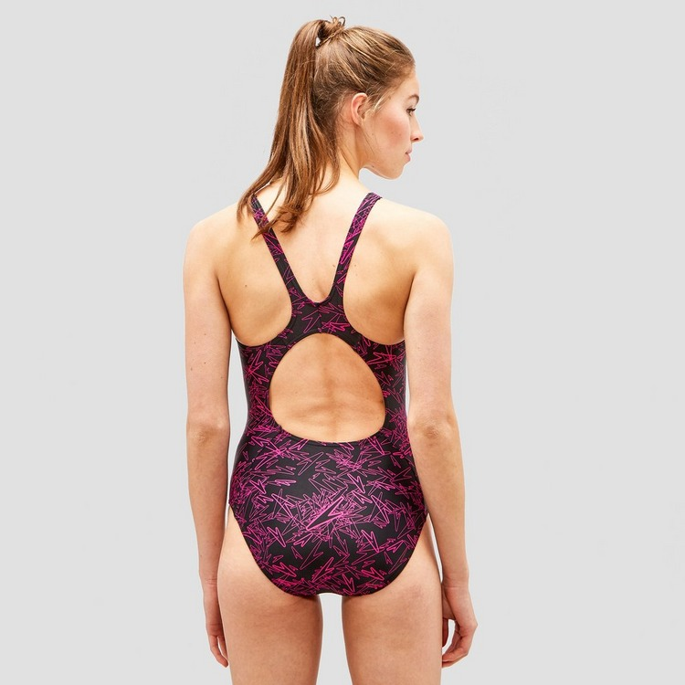 SPEEDO E10 BOOM ALLOVER MUSCLEBACK ZWART/ROZE DAMES