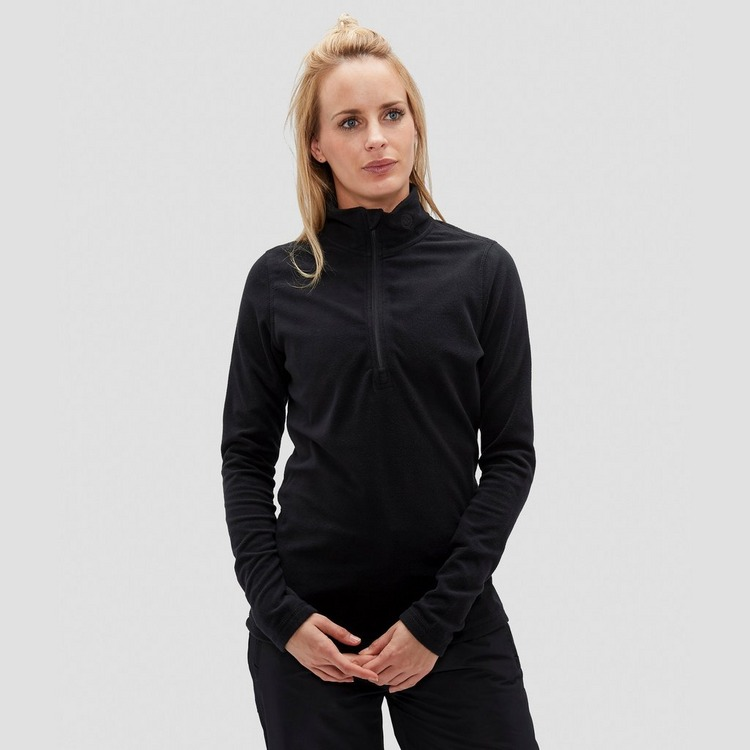 SPEX JULIANA FLEECE OUTDOOR TRUI 1/4-RITS ZWART DAMES