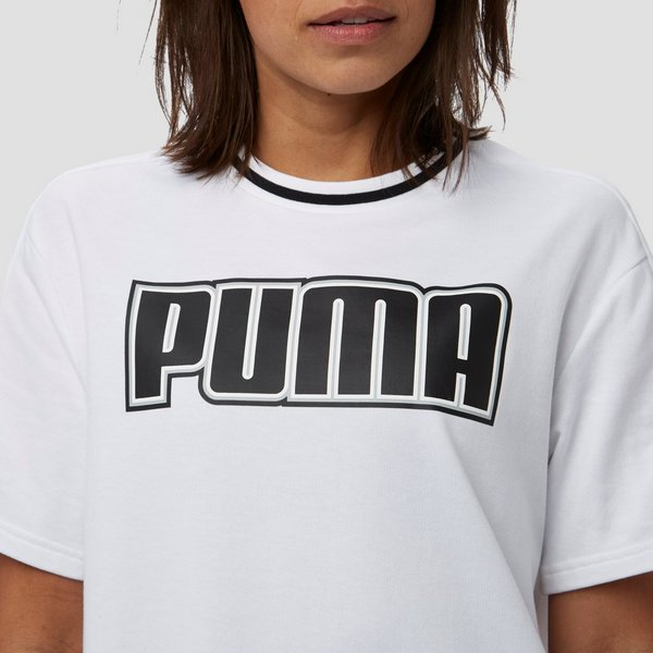 PUMA REBEL SHIRT WIT/GEEL DAMES