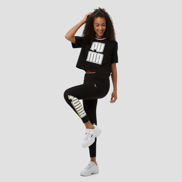 PUMA REBEL CROPPED SHIRT ZWART DAMES