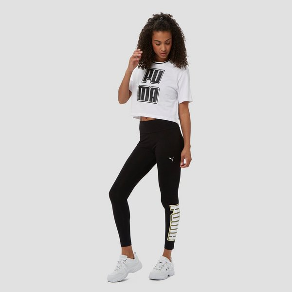 PUMA REBEL CROPPED SHIRT WIT DAMES