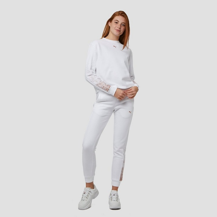 PUMA HOLIDAY CROPPED CREW SWEATER WIT DAMES