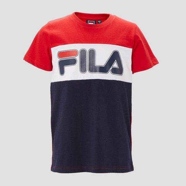 FILA OLLA COLORBLOCK SHIRT ROOD/BLAUW KINDEREN