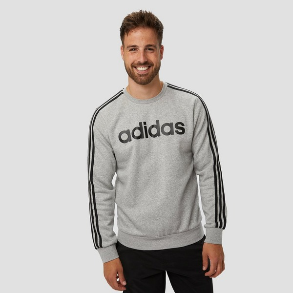 ADIDAS ESSENTIALS 3-STRIPES CREW FLEECE SWEATER GRIJS HEREN ...