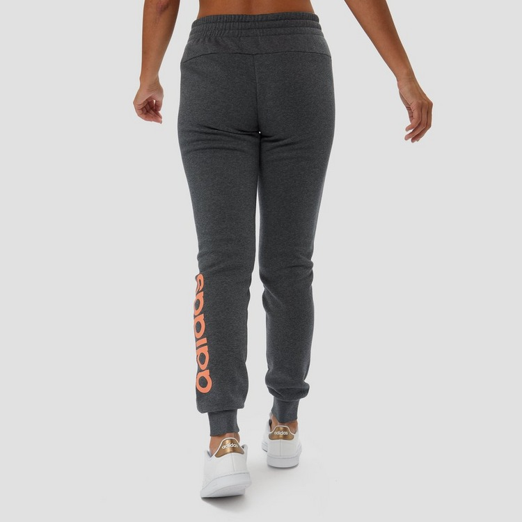 ADIDAS ESSENTIALS LINEAR FLEECE JOGGINGBROEK GRIJS/ORANJE DAMES