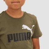 PUMA ESSENTIALS+ 2 COLOUR LOGO SHIRT GROEN KINDEREN