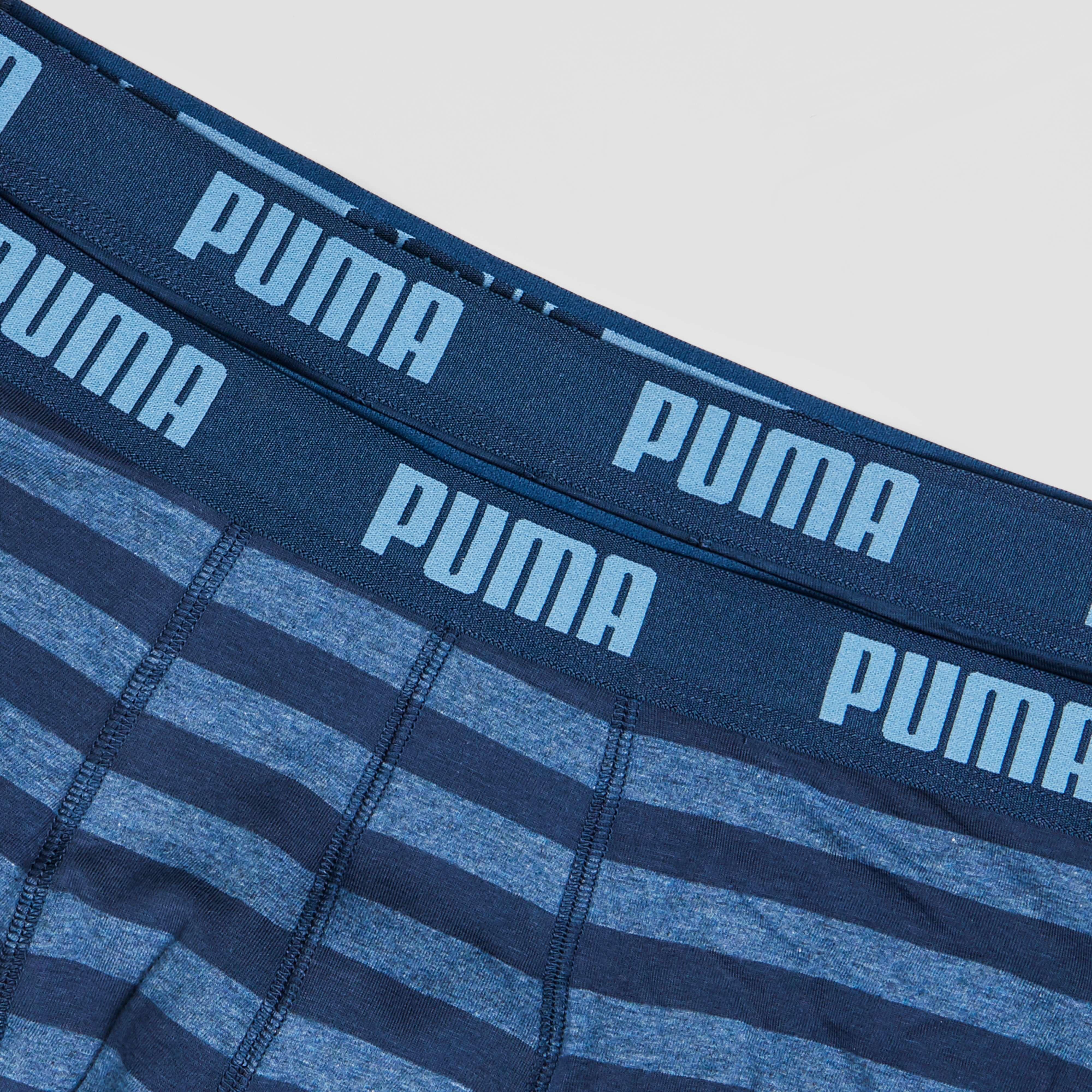 PUMA BASIC STRIPED BOXERSHORT 2-PACK BLAUW HEREN