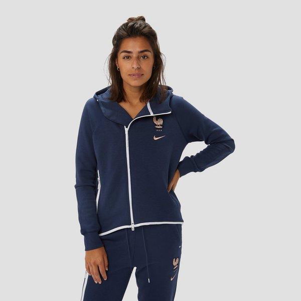 Fleece Trui Dames.Nike Frankrijk Vrouwenelftal Sportswear Tech Fleece Trui 19 20 Blauw