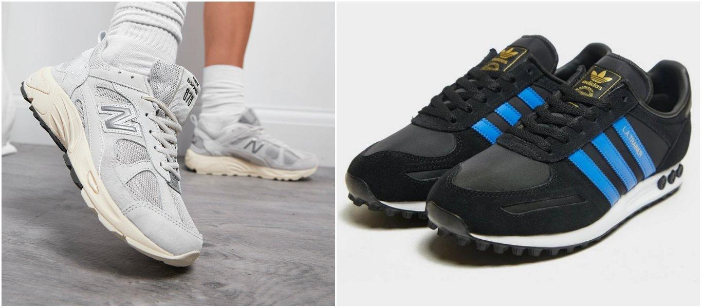 Ljusgråa New Balance 878 på person i inomhusmiljö och ett par svarta adidas LA Trainer med 3-Stripes i stark blå färg