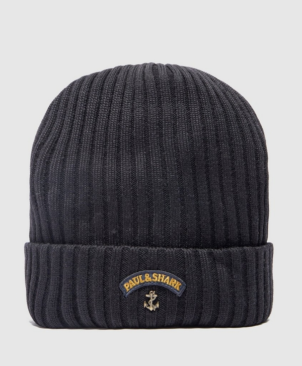 b182ff6584568 Paul and Shark Ribbed Knitted Logo Beanie