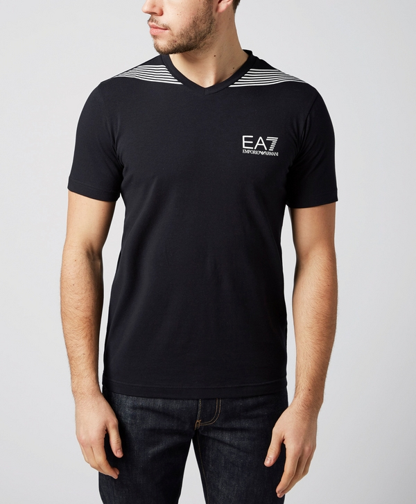 20df5699 Emporio Armani EA7 7 Stripe V-Neck T-Shirt | scotts Menswear