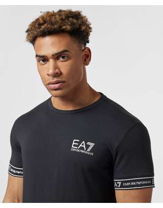 huge selection of 82130 58a80 Emporio Armani EA7 Tape Cuff Short Sleeve T-Shirt | scotts ...