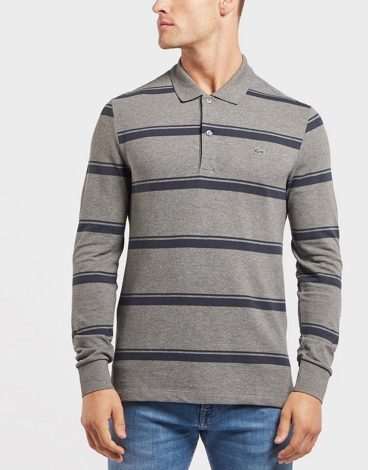 Lacoste Stripe Long Sleeve Pique Polo Shirt