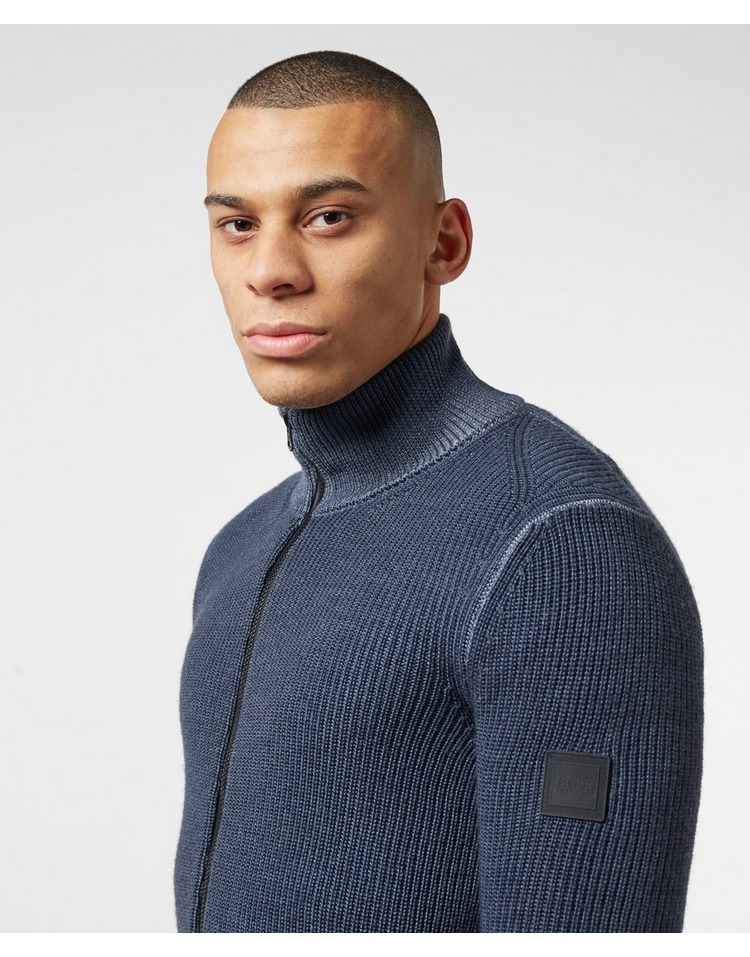 BOSS Afurly Ribbed Full Zip Sweatshirt