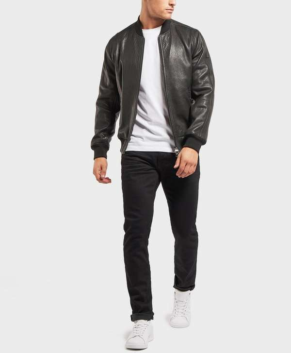 BOSS Josiah Leather Bomber Jacket